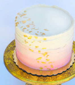 Chocolate Cake with Pink Ombre & Gold Leaf