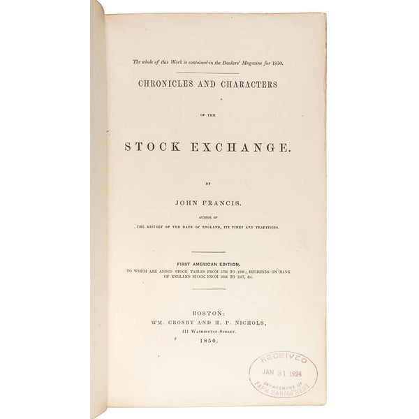 Chronicles and Characters of the Stock Exchange - Books Above the Bend
