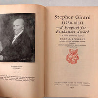 Stephen Girard (1750 - 1831): A Proposal for Posthumous Award - Books Above the Bend