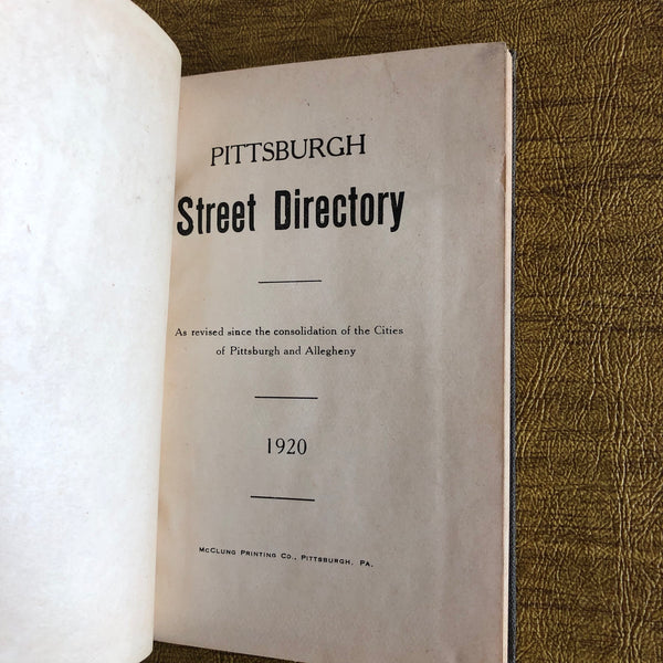 Pittsburgh Street Directory (1920) - Books Above the Bend