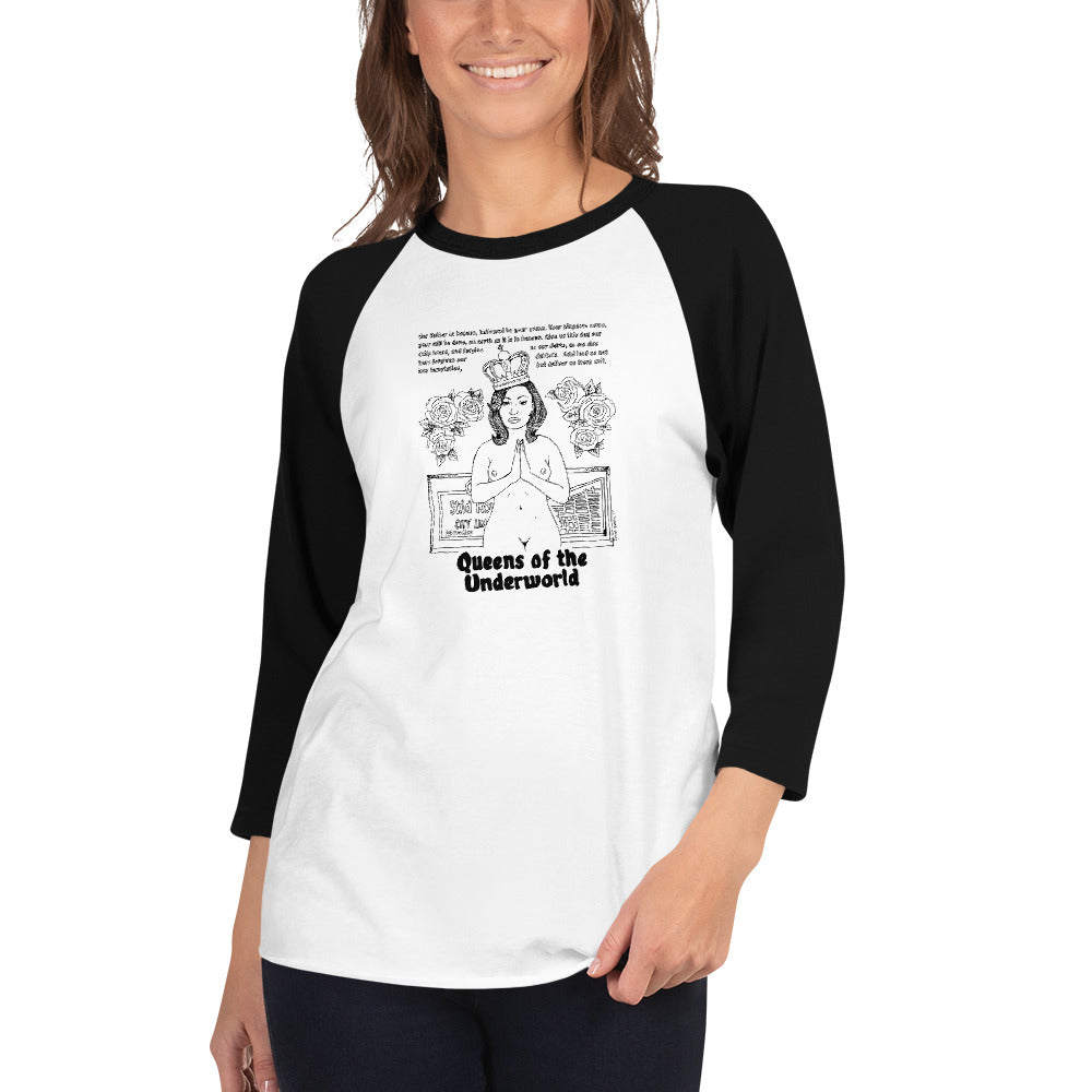 Queen's Prayer 3/4 sleeve raglan shirt