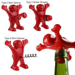 Wine Bottle Opener Happy Man Red Stainless Steel