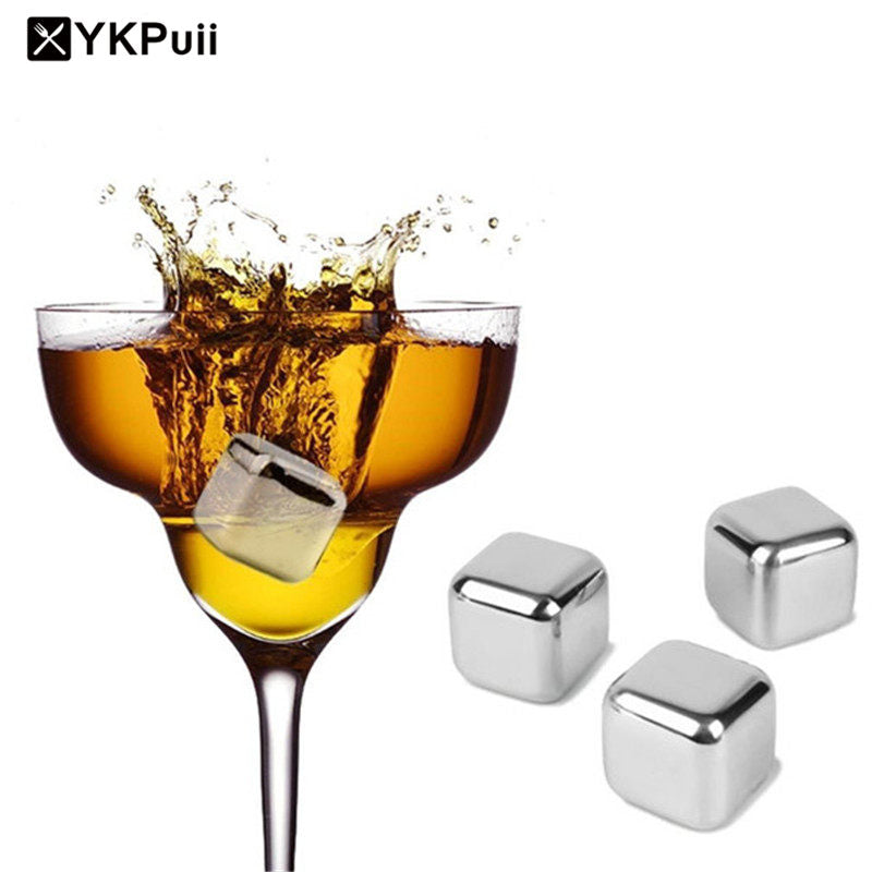 Stainless Steel Ice Cubes Cool Glacier Rock Neat Drink Freezer
