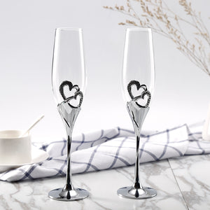 200ML 2pcs Champagne Flutes Wine Glass Crystalline