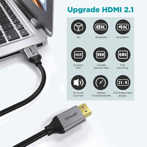 HDMI 2.1 Cable,QGeeM 8K HDMI Cable 6ft