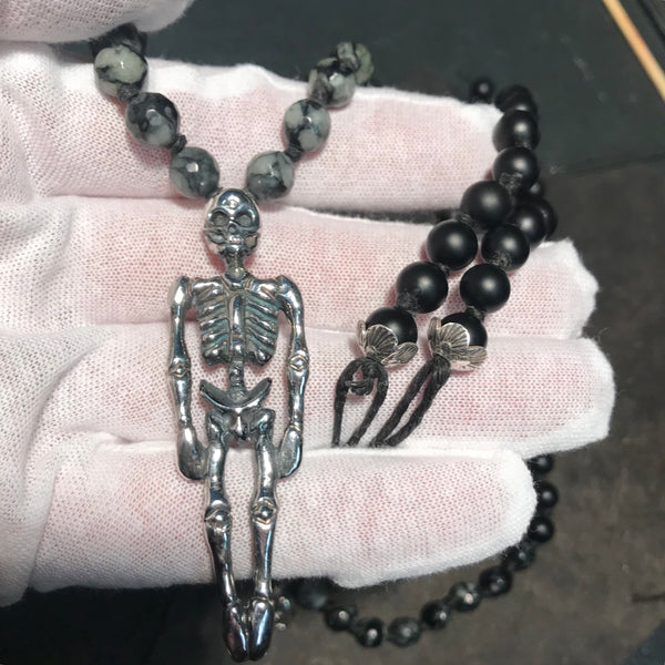 Diamond Sutra Skeleton Mala Necklace
