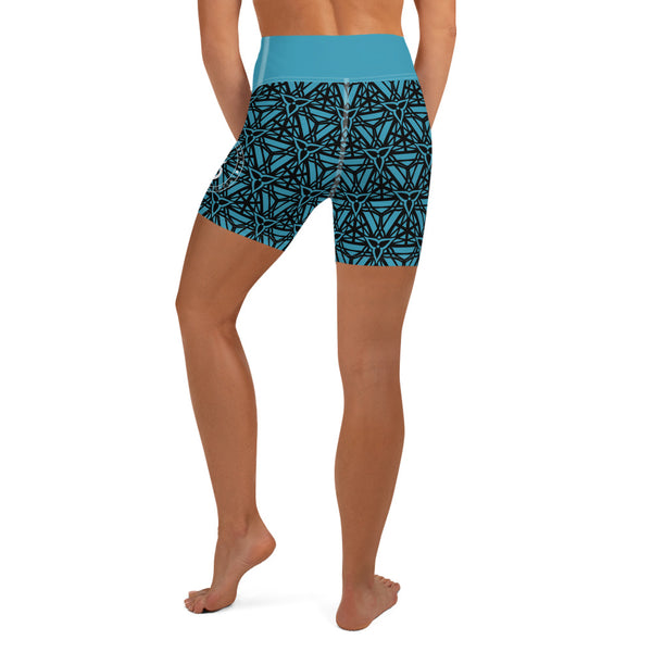 Trillium Pattern Yoga Shorts TEAL