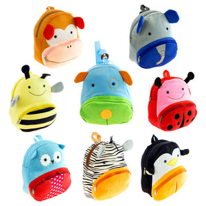 Wholesale 12 Inch Kids Plush Animal Backpack - 8 Assorted Prints - 24 Bags Per Case - Free Shipping