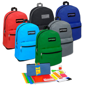 Preassembled 19 Inch Backpack & 18 Piece School Supply Kit - 12 Kits Per Case - Free Shipping