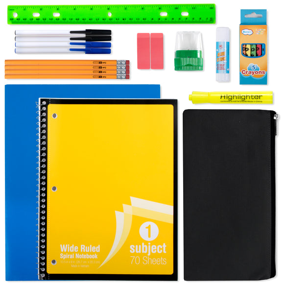 Wholesale 12 Piece School Supply Kit - 24 Kits Per Case - Free Shipping