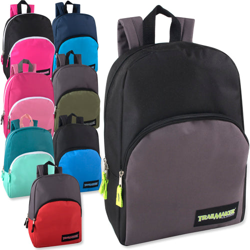 Wholesale 15 Inch Backpack - 8 Colors - 24 Bags Per Case - Free Shipping