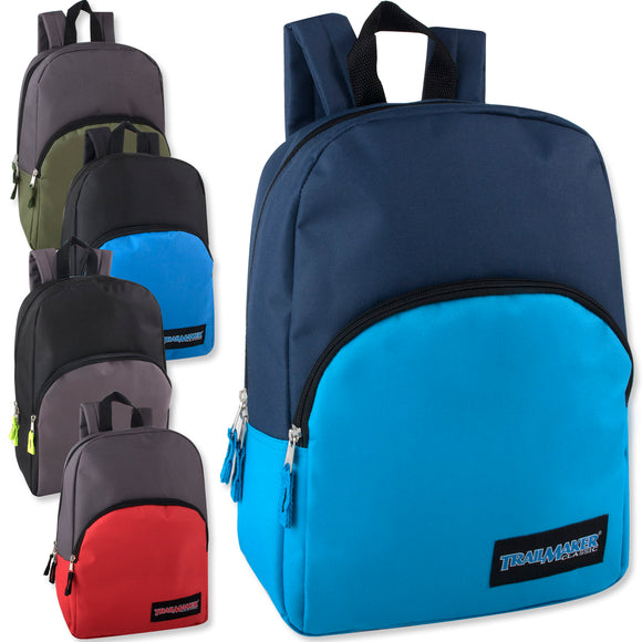 Wholesale 15 Inch Backpack - 5 Colors - 24 Bags Per Case - Free Shipping