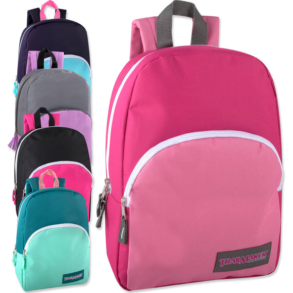 Wholesale 15 Inch Girls Backpack - 5 Colors - 24 Bags Per Case - Free Shipping