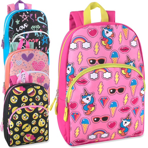 Wholesale 15 Inch Girls Printed Backpack - 24 Bags Per Case - Free Shipping