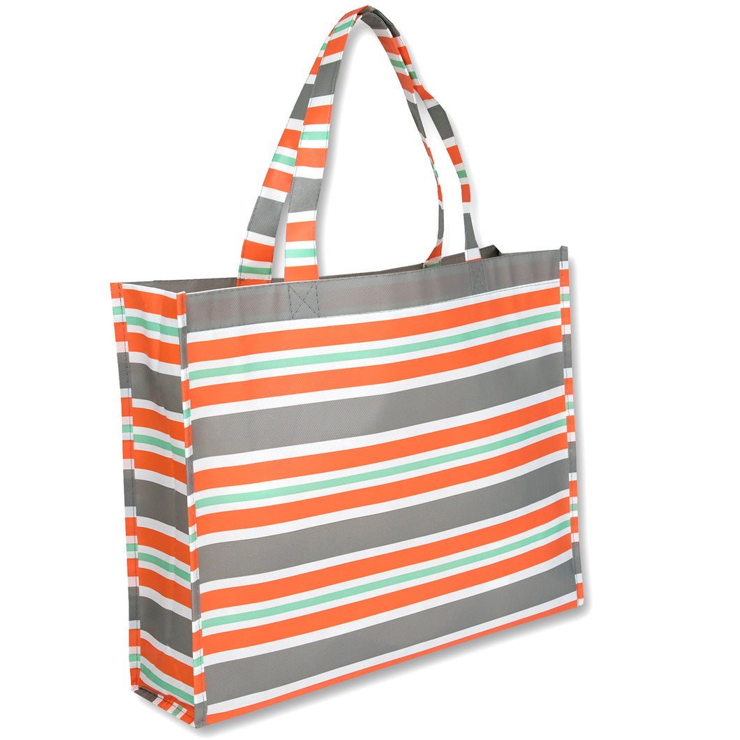 Wholesale 15 Inch Printed Non Woven Tote Bags - Stripes - 100 Bags Per Case - Free Shipping
