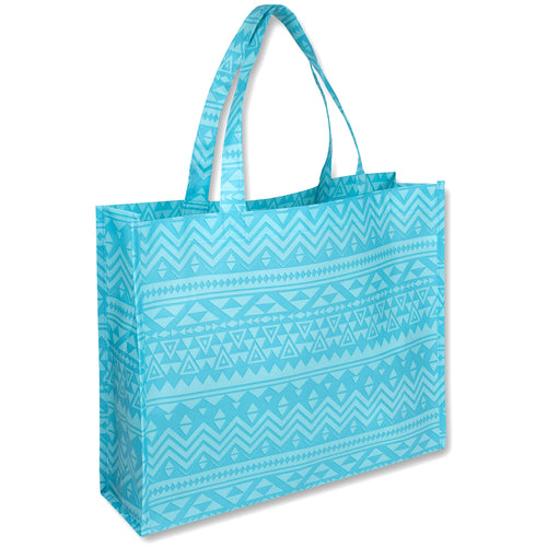Wholesale 15 Inch Printed Non Woven Tote Bags - Tribal - 100 Bags Per Case - Free Shipping