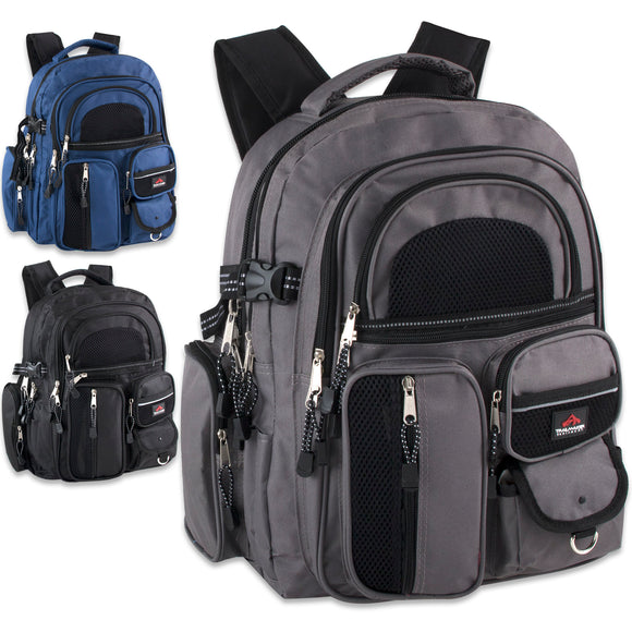 Wholesale 17 Inch Backpack With 11 Different Pockets - 24 Bags Per Case - Free Shipping