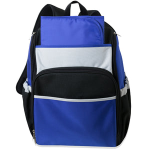 Wholesale 17 Inch Blue Color Block Diaper Backpack - 24 Bags Per Case - Free Shipping