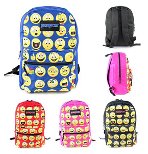 Wholesale 17 Inch Emoji Print Backpack - Assorted Colors - 12 Bags Per Case - Free Shipping
