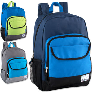 Wholesale 18 Inch Color Block Flap Backpack - 24 Bags Per Case - Free Shipping