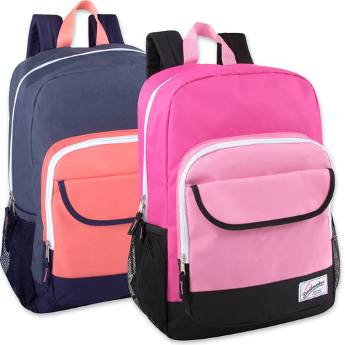 Wholesale 18 Inch Girls Color Block Flap Backpack - 24 Bags Per Case - Free Shipping