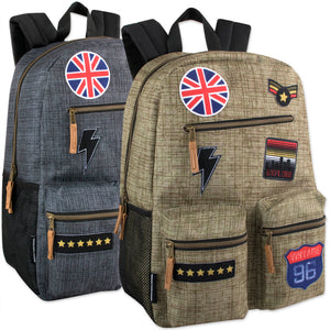 Wholesale 18 Inch Multi Pocket Backpack With Patches & Brass Zippers - 24 Bags Per Case - Free Shipping