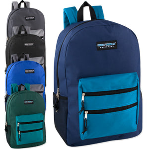 Wholesale 19 Inch Double Zip Backpack - 5 Colors - 24 Bags Per Case - Free Shipping