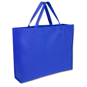 Wholesale 19 Inch Shopper Non Woven Tote Bag - Blue - 100 Bags Per Case - Free Shipping