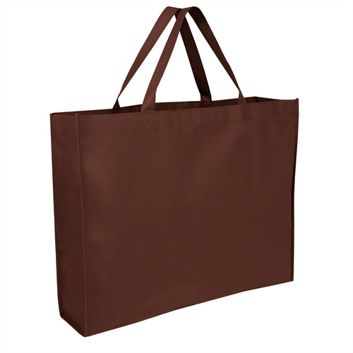 Wholesale 19 Inch Shopper Non Woven Tote Bag - Brown - 100 Bags Per Case - Free Shipping