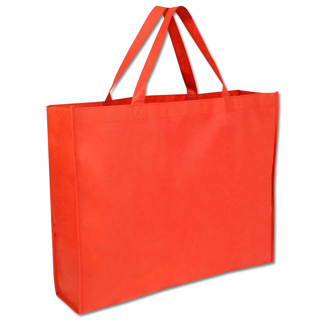 Wholesale 19 Inch Shopper Non Woven Tote Bag - Red - 100 Bags Per Case - Free Shipping