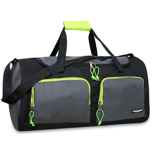 Wholesale 24 Inch Multi Pocket Duffel Duffle Bag - Grey - 24 Bags Per Case - Free Shipping