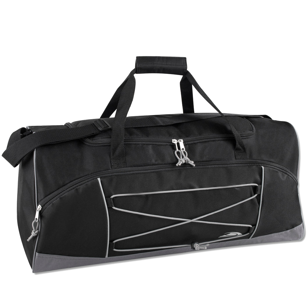 Wholesale 26 Inch Bungee Duffel Duffle Bag - Black - 24 Bags Per Case - Free Shipping