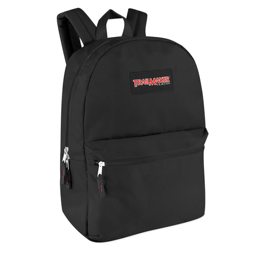 Wholesale Trailmaker Classic 17 Inch Backpack - Black - 24 Bags Per Case - Free Shipping