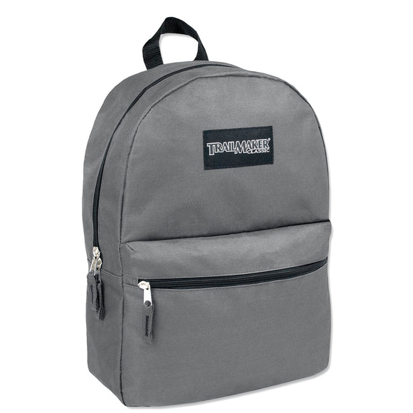 Wholesale Trailmaker 17 Inch Backpack - Gray - 24 Bags Per Case - Free Shipping