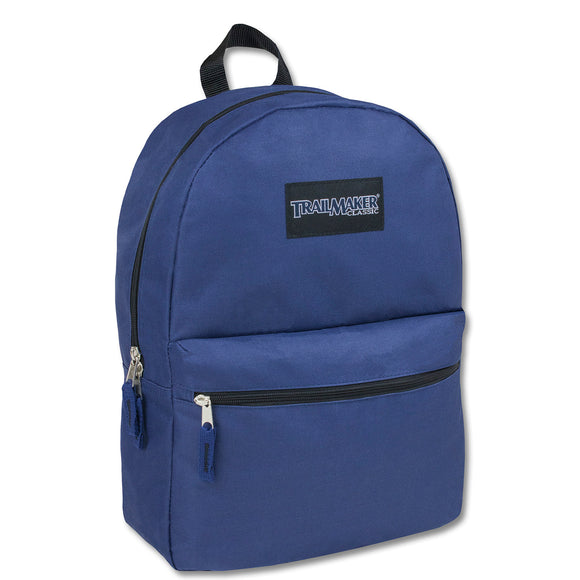 Wholesale Trailmaker 17 Inch Backpack - Navy Blue - 24 Bags Per Case - Free Shipping