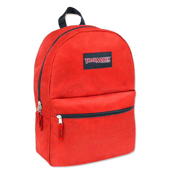 Wholesale Trailmaker 17 Inch Solid Backpack - Red - 24 Bags Per Case - Free Shipping