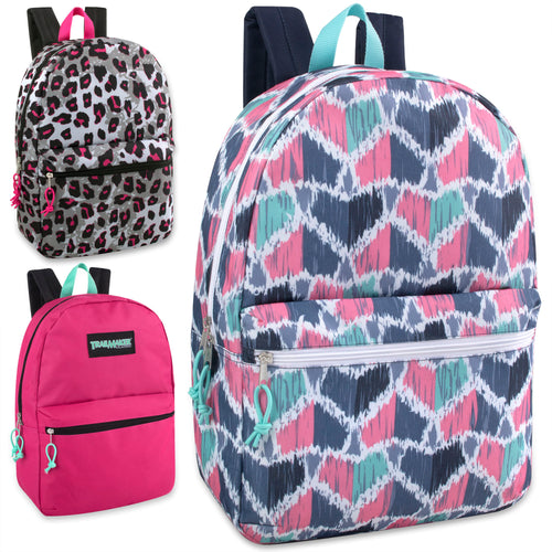 Wholesale Trailmaker 17 Inch Girls Backpack - 24 Bags Per Case - Free Shipping