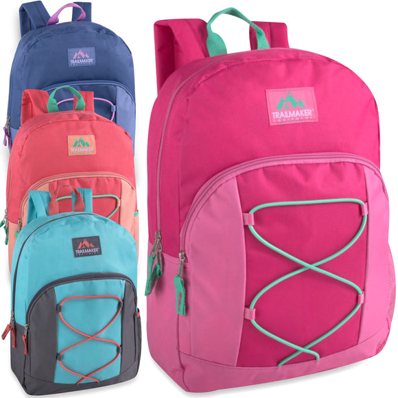 Wholesale Trailmaker 17 Inch Girls Bungee Backpack - 4 Colors - 24 Bags Per Case - Free Shipping