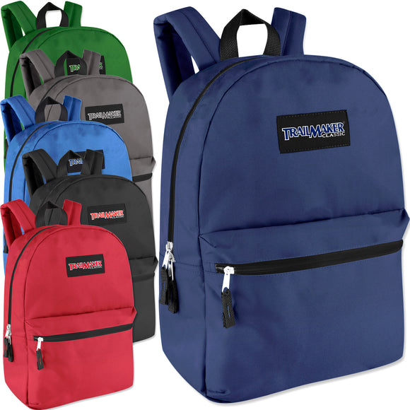 Wholesale Trailmaker Classic 17 Inch Backpack - 6 Colors - 24 Bags Per Case - Free Shipping