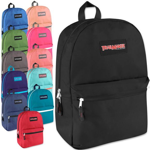 Wholesale Trailmaker Classic 17 Inch Backpack - 12 Colors - 24 Bags Per Case - Free Shipping