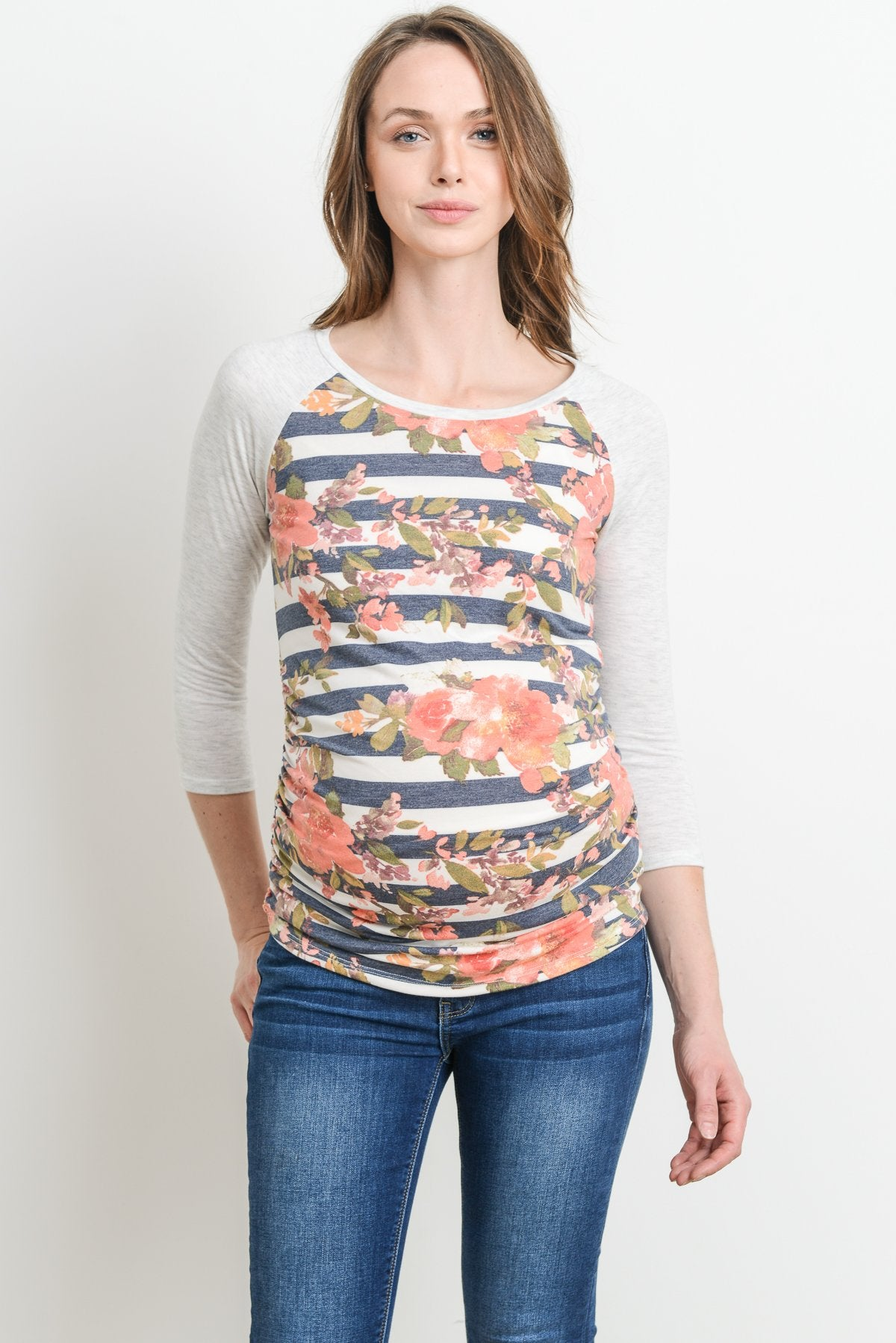 Striped Maternity Baseball Tee