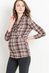 Long Sleeve Plaid Nursing Top