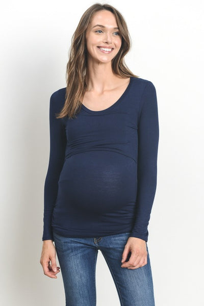 Long Sleeve Solid Maternity & Nursing Top
