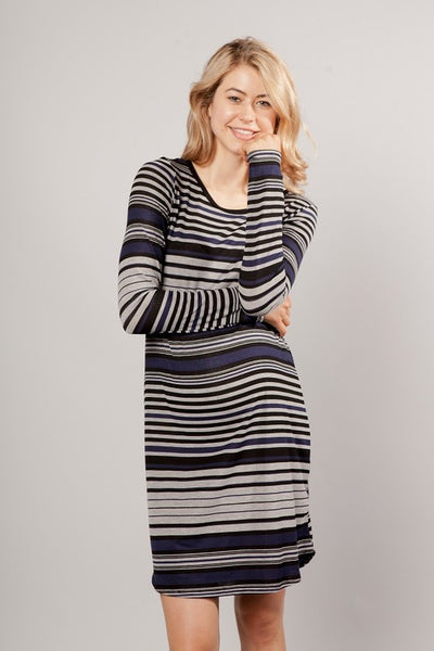 Striped Long Sleeve Maternity Dress