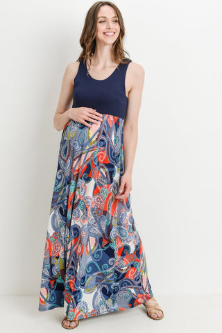 Paisley Tank Maxi Maternity Dress