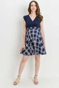Plaid Empire Waist Maternity & Nursing Dress
