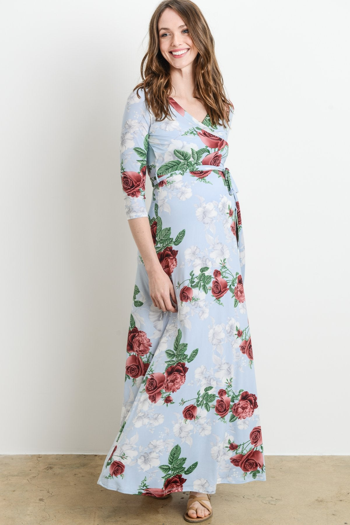 3/4 Sleeve Faux Wrap Maxi Dress