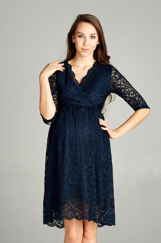 Scallop Lace Cross Over Maternity Dress