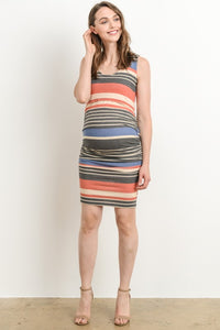 Navy/Coral Sleeveless Maternity Dress