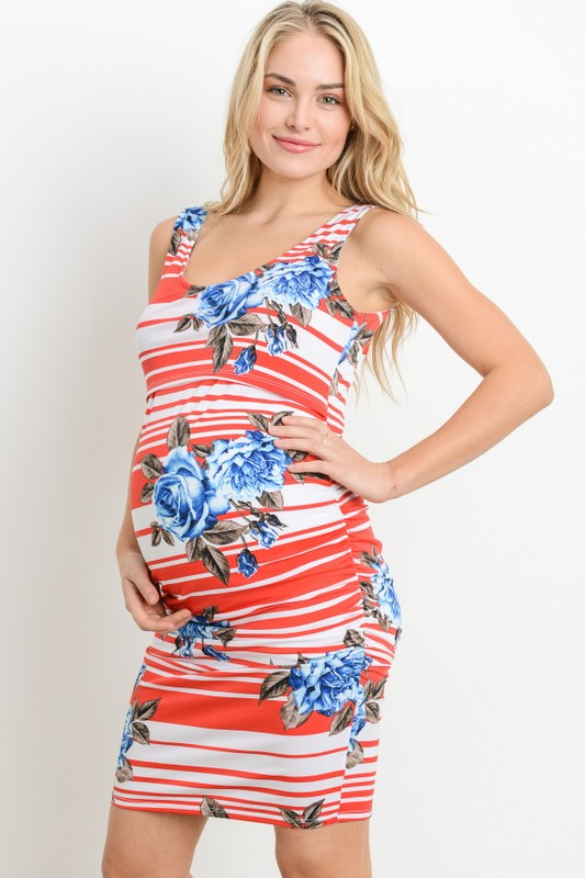 Striped Floral Sleeveless Maternity Dress